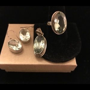Jewelry - Sterling Prasiolite ring, Pendant and Earrings Set